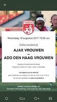 Informatie over de clinic voor meisjes en de wedstrijd Ajax vrouwen - ADO Den Haag vrouwen