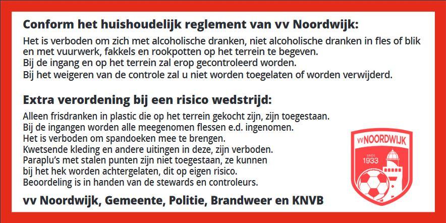 Attentie voor de wedstrijd Noordwijk – SJC